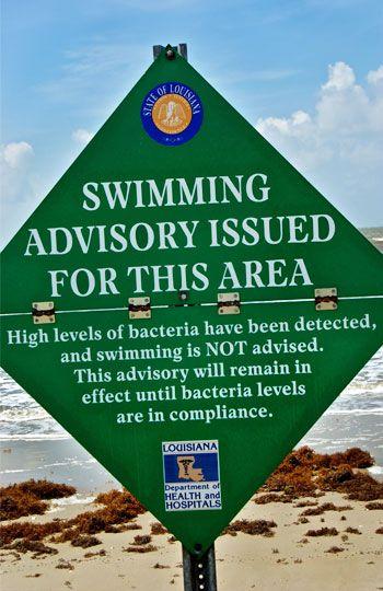 High Bacteria Level Warning Sign Little Florida Beach Cameron Parish La David Wei Alamy