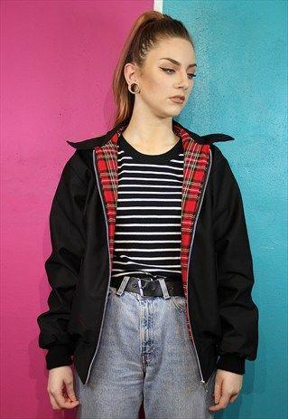3fa263911 Black tartan lined harrington bomber jacket | my style | Black ...