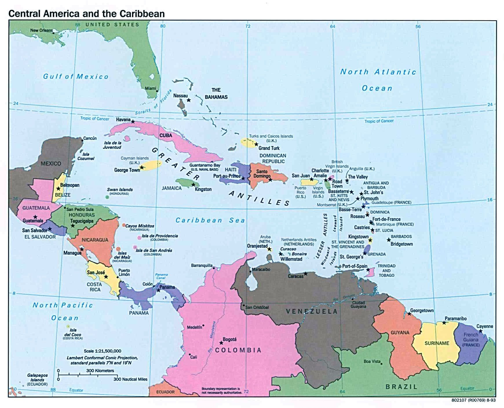 Map Of America And Caribbean.Map Shows Countries Capital Cities And Major Cities Of Central