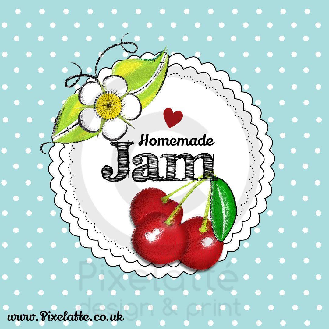 printable homemade cherry jam label digital template by pixelatteuk