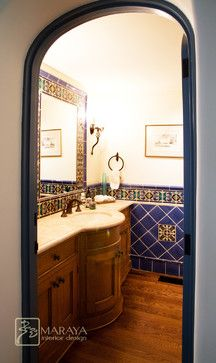Blue Malibu Tile Powder Room Mediterranean Powder Room Santa Barbara By Maraya Interior Design Powder Room Bathroom Inspiration Design