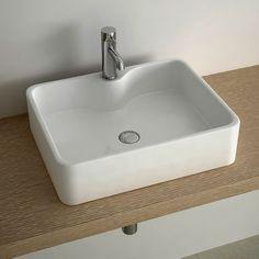 Vasque A Poser Rectangulaire En Ceramique Blanche De Qualite Design Original Faible Profondeur Pour Un Encombrement Vasque A Poser Vasque Idee Salle De Bain