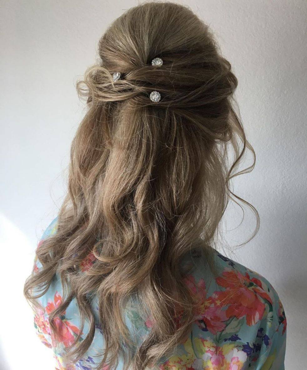 bouffant half updo for long hair  mother of the bride