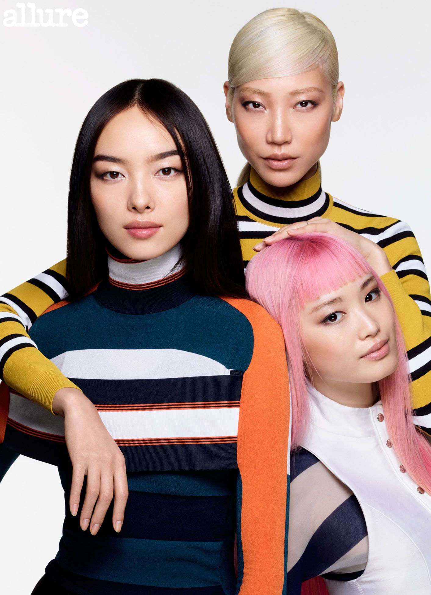 In a rare move, Allure's cover features three Asian models