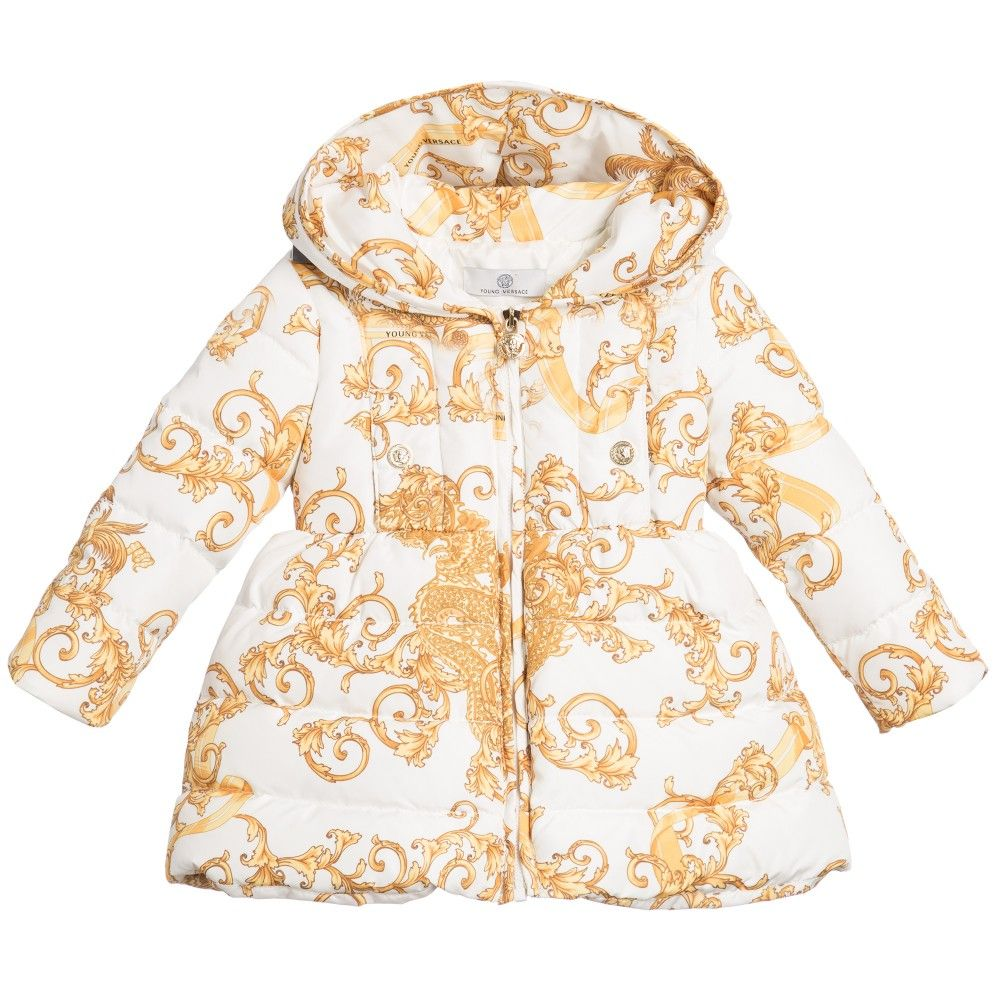 dde0b4c84404 Young Versace Baby Girls Down Padded  Baroque Dragon  Coat at Childrensalon .com