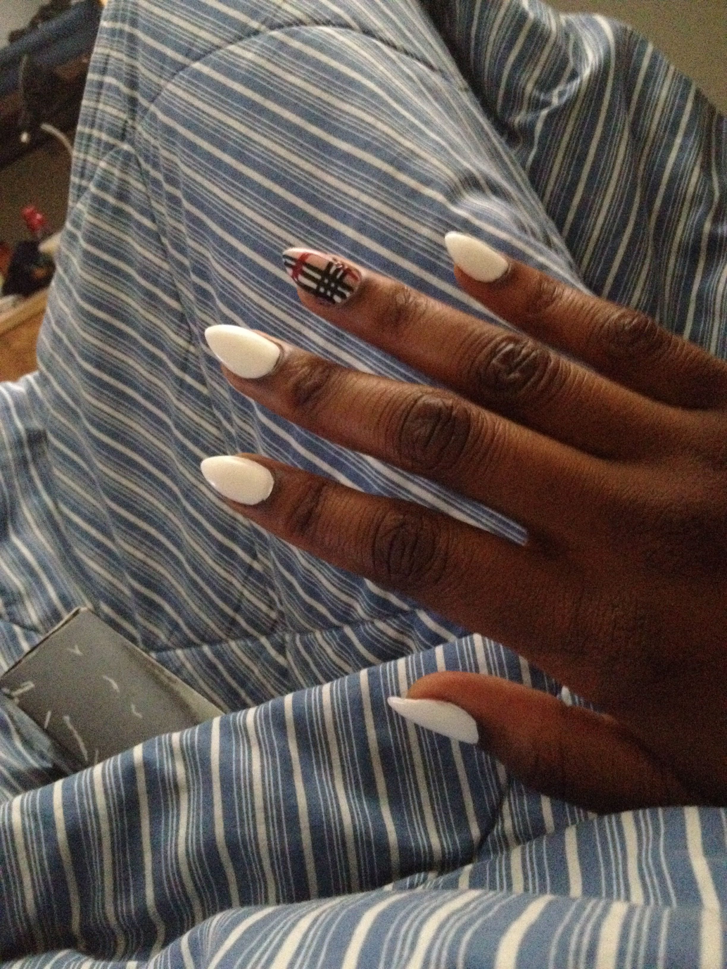 All White Matte Stiletto Nails With Burberry Nail Design Simple