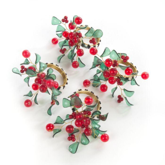 MacKenzie-Childs - Holly & Berry Napkin Rings - Set of 4