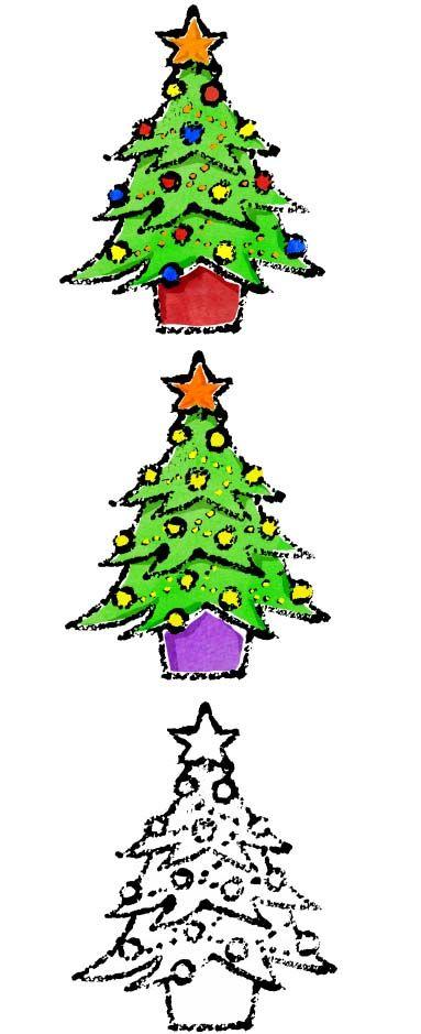 おしゃれクリスマスツリーイラスト無料素材 かわいいフリー