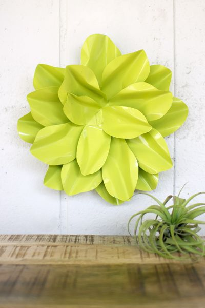 neon green metal wall hanging flower $39.00 @ Lisa Fansher Thinking ...