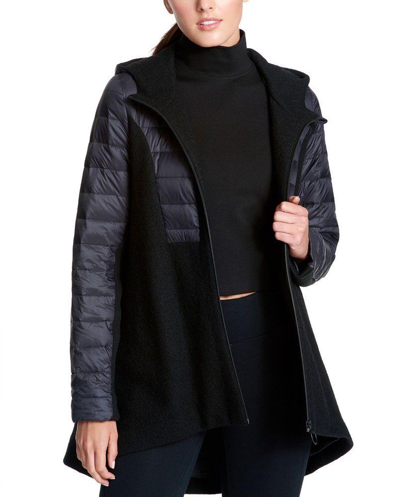 Dkny 149 New Mixed Media Hooded Swing Coat Womens Jacket Xl Swing Coats Blazer Jackets For Women Coats For Women [ 1000 x 818 Pixel ]