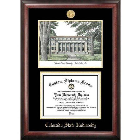 Colorado State University 8.5 inch x 11 inch Gold Embossed Diploma Frame with Campus Images Lithograph