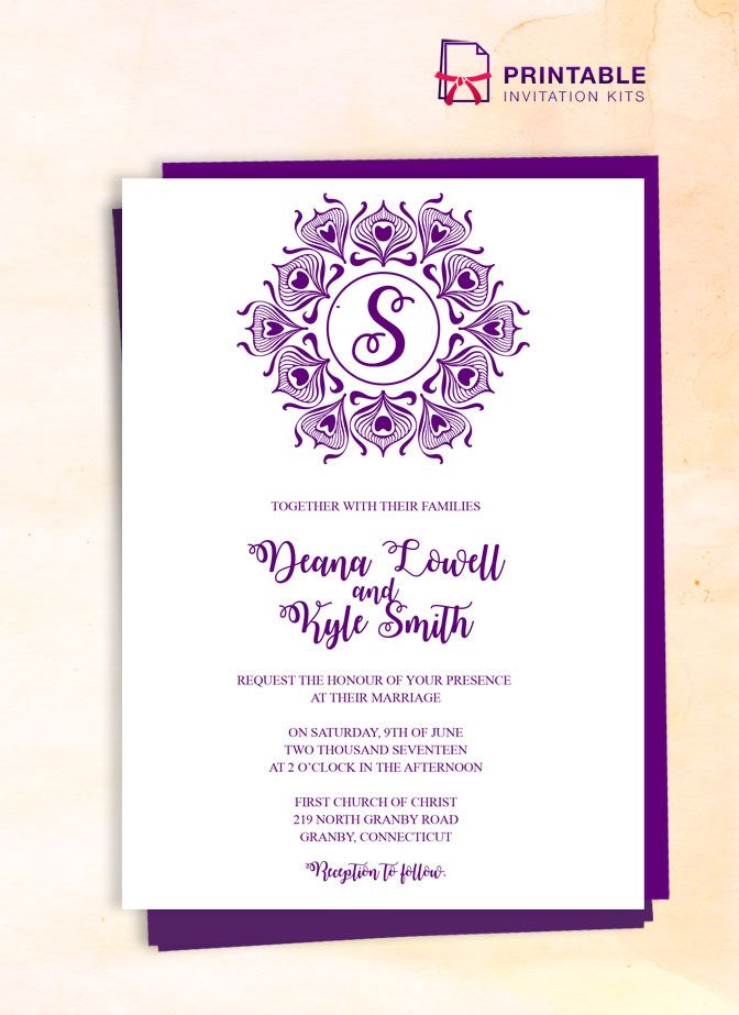 peacock logo badge wedding invitation wedding invitation