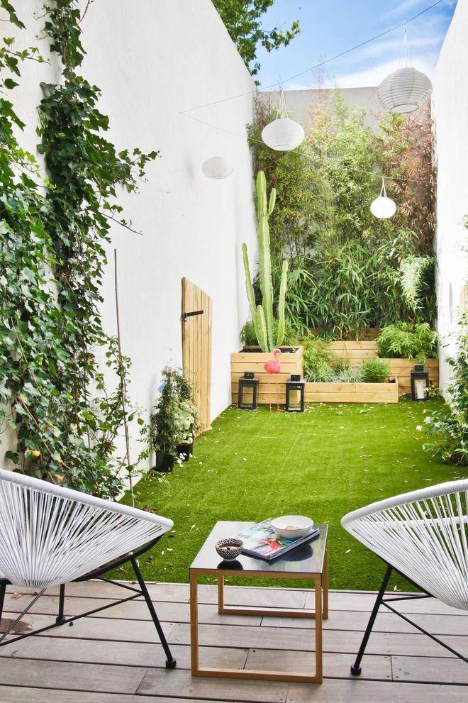Terrasse exotique : idées déco et aménagement | Decoration mur exterieur jardin, Decoration mur ...