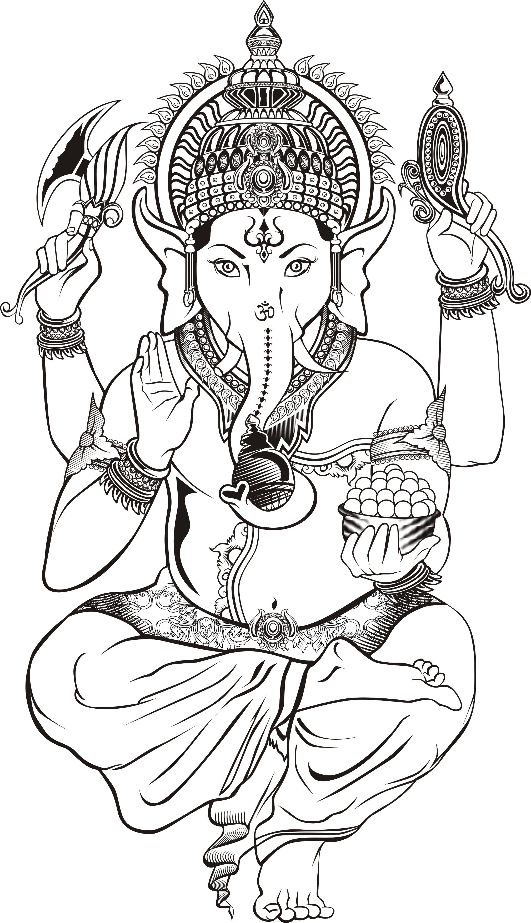 Gaja Hindu Elephant coloring page - Google Search | Adult coloring ...