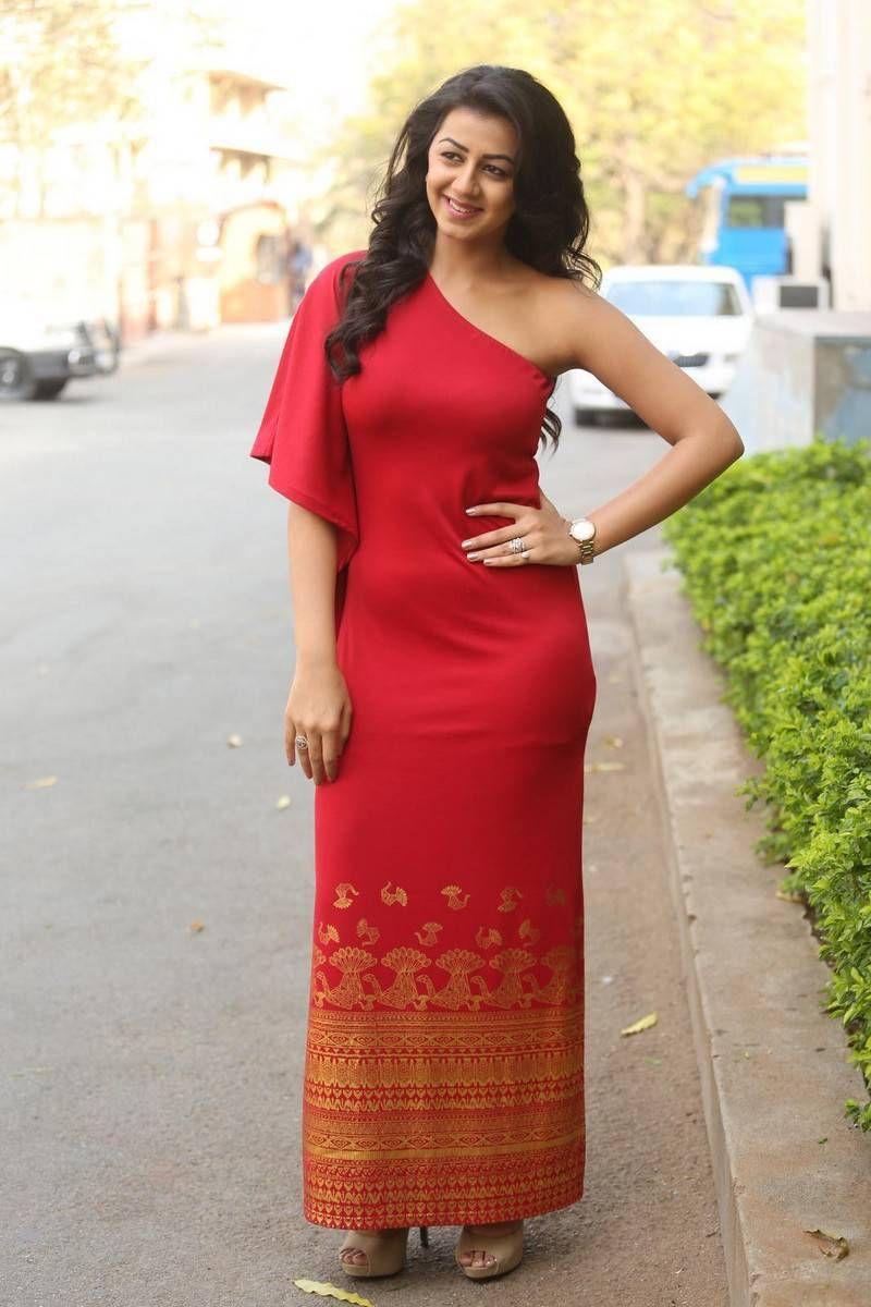 Nikki galrani stills in red oneshoulder long dress at malupu
