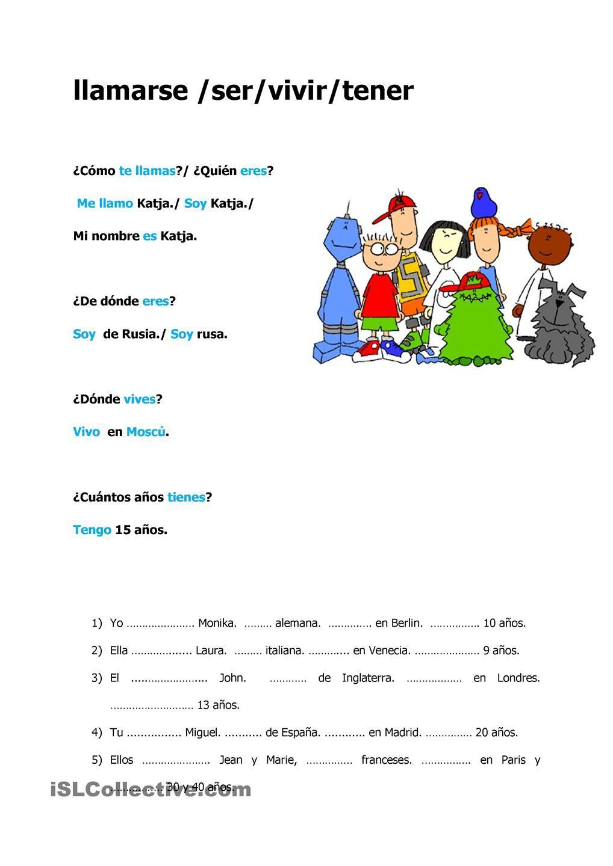 worksheet Tener Worksheet llamarseservivirtener tener pinterest worksheets llamarseservivirtener
