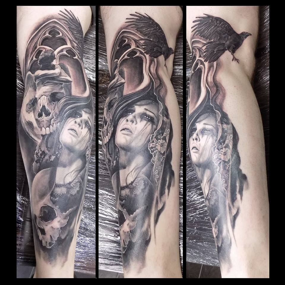 Angel and demon calf tattoos, portraits black and grey ...