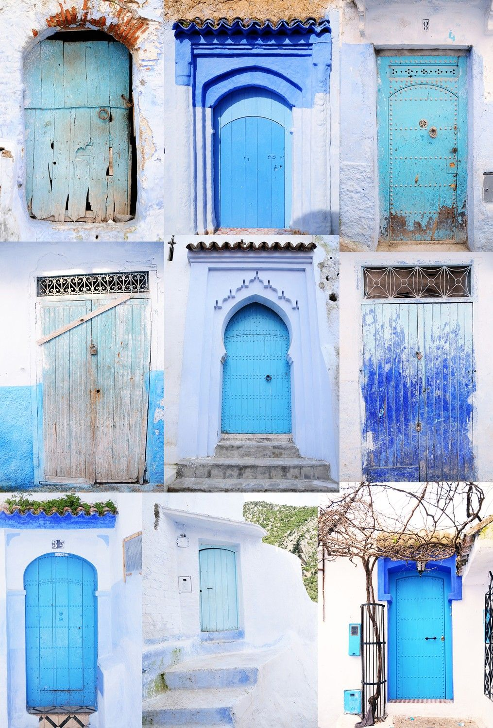 Moroccan Blue Door Collage Travel Photography HVLAUREN E - Old town morocco entirely blue
