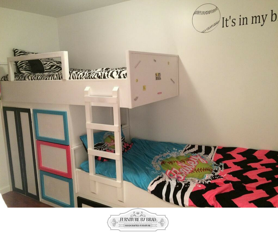 Custom Handmade Solid Wood Built In Bunk Beds With Storage