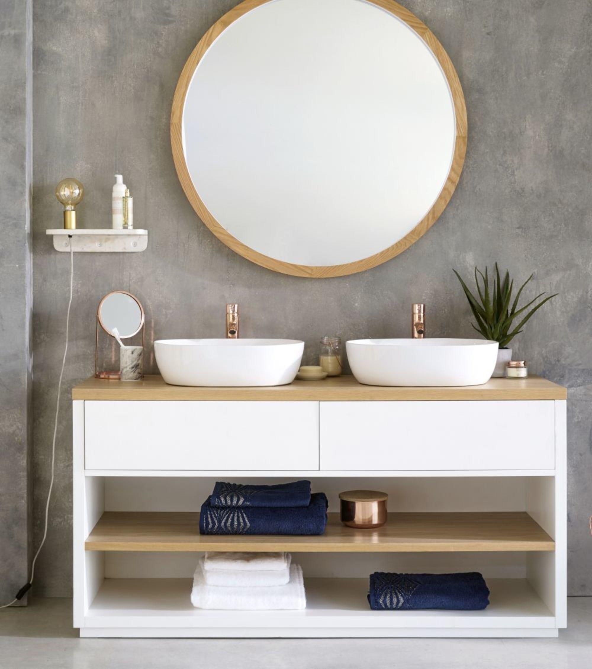Mueble de lavabo blanco doble con 16 cajones  Maisons du Monde en