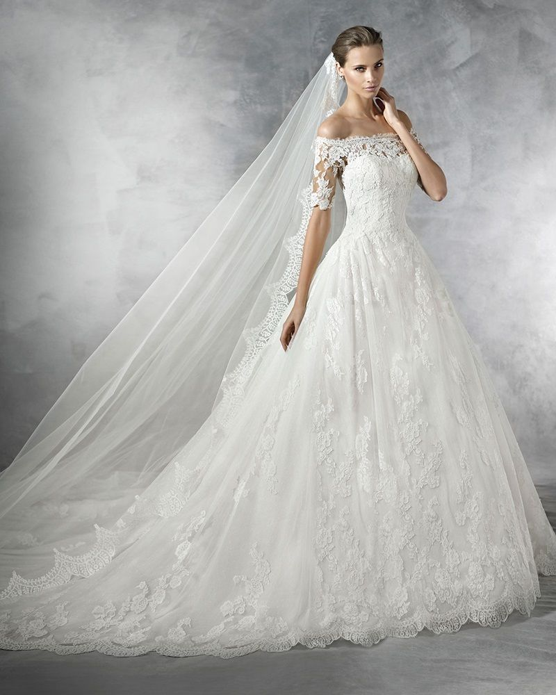 Pronovias - Off-Shoulder Princess Ball Gown in Lace | Bridal ...