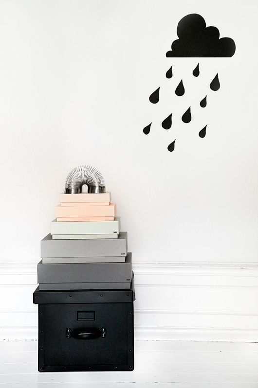 Interior Design Storage Boxes Pink Grey Black Cloud Rain Wall Sticker Home Diy Inspiration Wall Decor