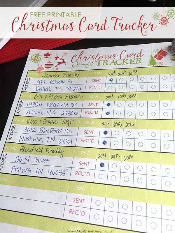 Christmas Card Tracker Free Printable Included Free Printable Christmas Cards Christmas Cards Free Free Christmas Printables
