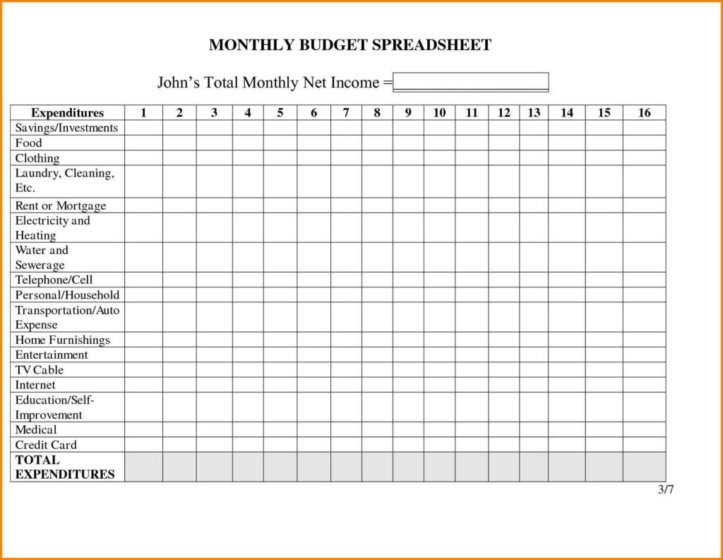 Monthly Expenses Spreadsheet