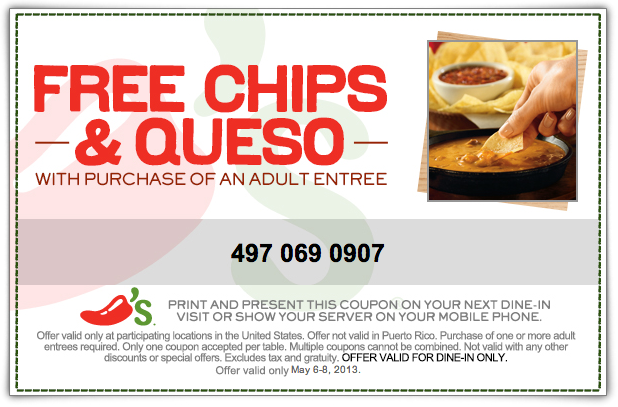 Chili S Free Chips Queso Printable Coupon Chips And Salsa Chilis Coupons Free Printable Coupons