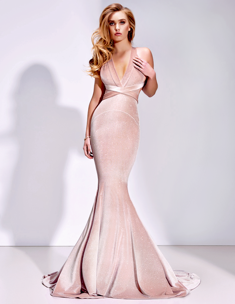 Gorgeous v neck mermaid pink velvet long prom dress thumbnail