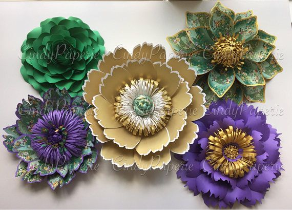 Paper Flowers With Washi Paper Detail Set Of 5 Proceeds Paper