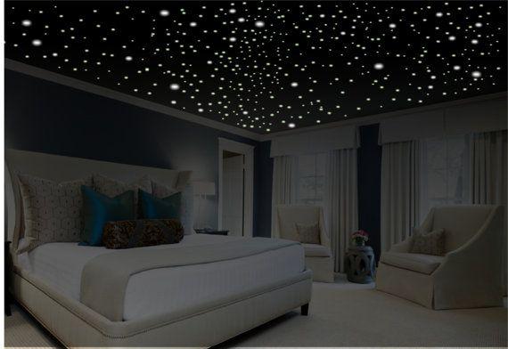 Romantic bedroom decor, star wall sticker, light …