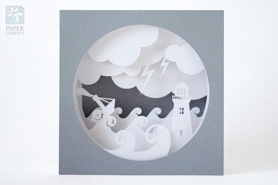 "Papercut Template Tunnel card ""Storm"", Instant Download, SVG, PDF ..."