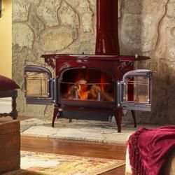 Vermont Castings Wbs Love The Red Stove Fireplace Wood Stove Wood Stove Hearth