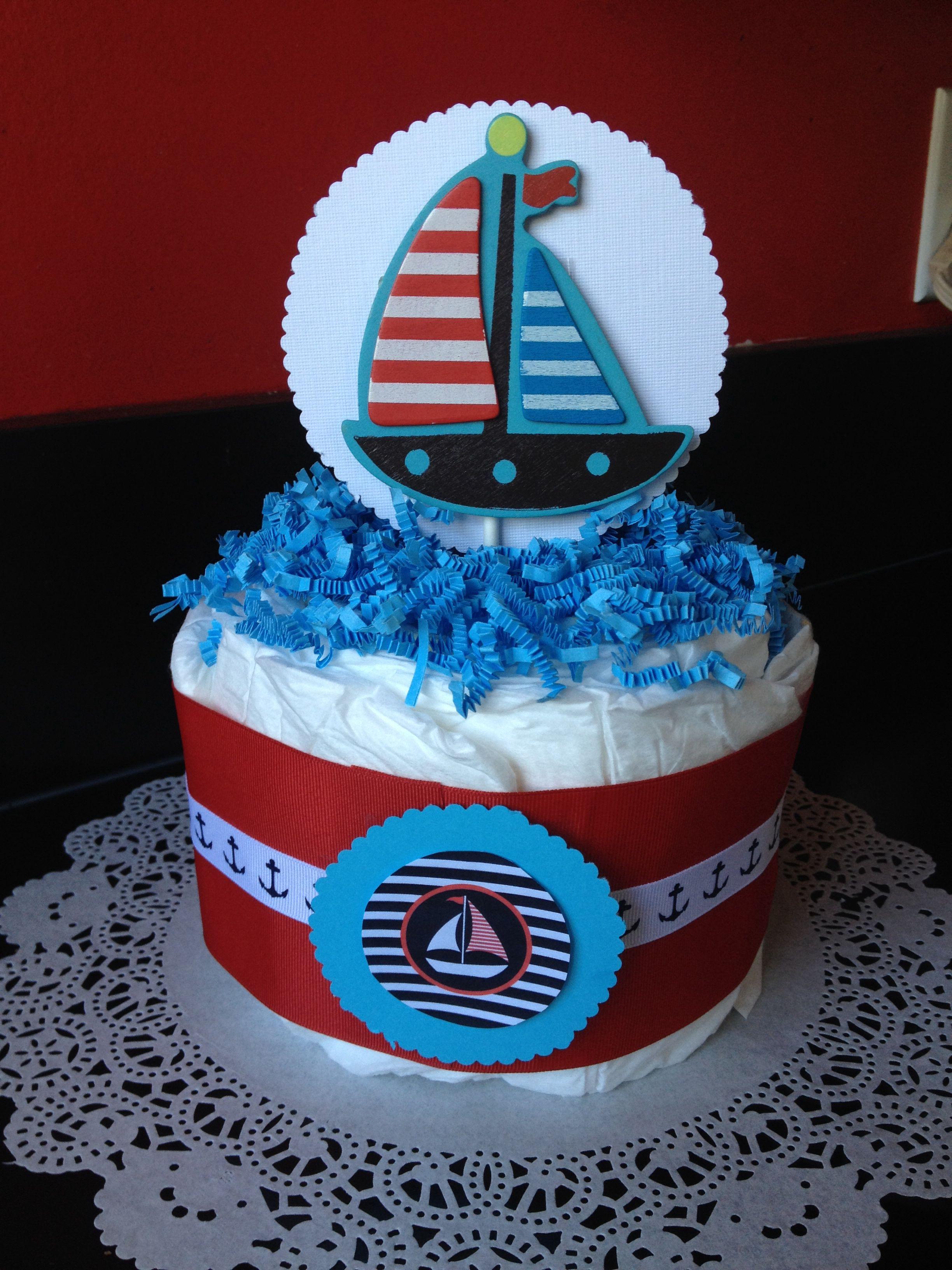 Nautical Theme Baby Shower Mini Diaper Cake Centerpiece