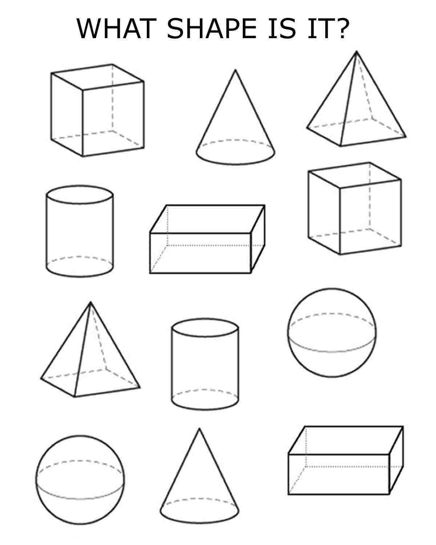 Kindergarten 3d Shapes Worksheets In