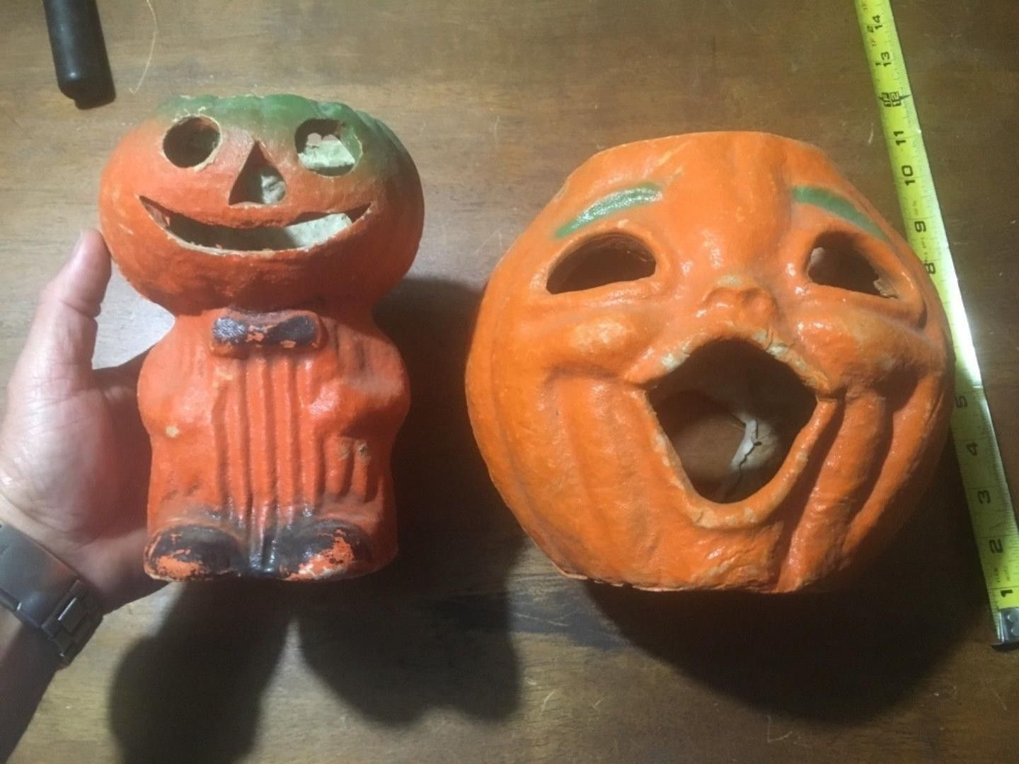 These Are Two Of The Rarest Paper Mache Halloween Pieces You Will Find First I Have The Double Faced Pumpkin Head Mo Paper Mache Pumpkins Pumpkin Man Pumpkin