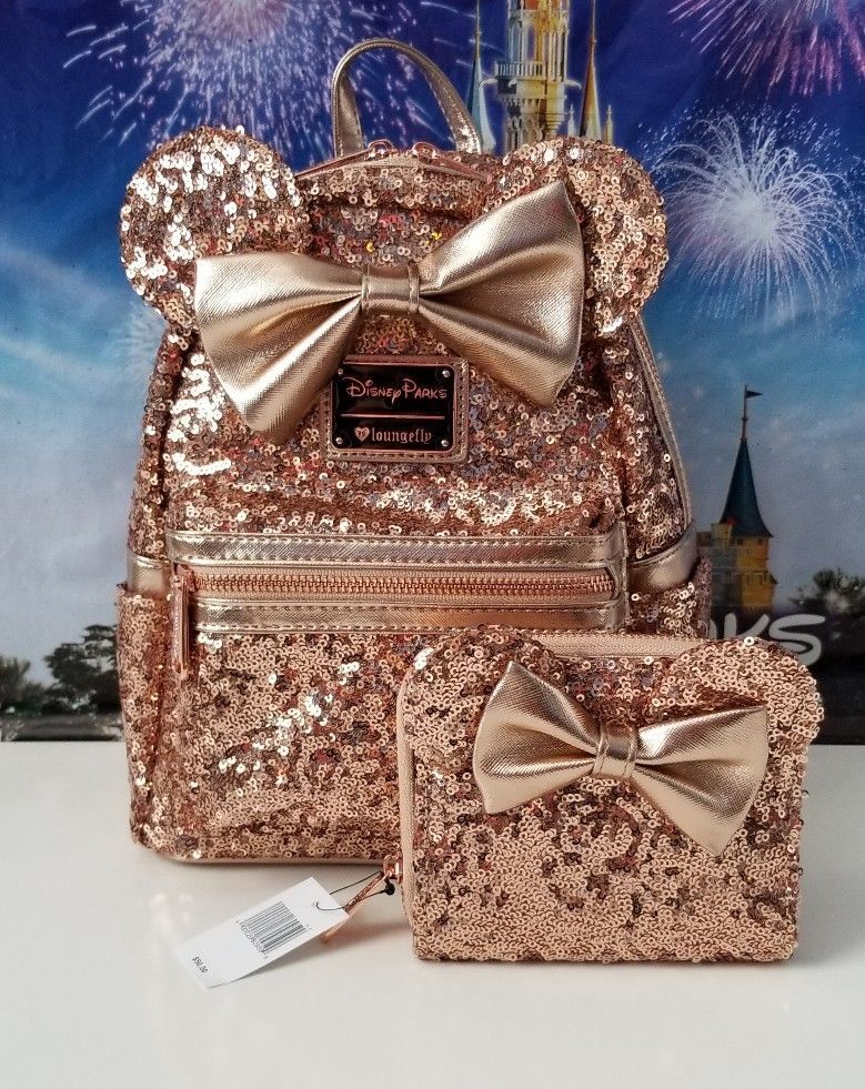 7135f5404fa NWT Disney Parks Minnie Mouse Rose Gold Loungefly Backpack and Wallet