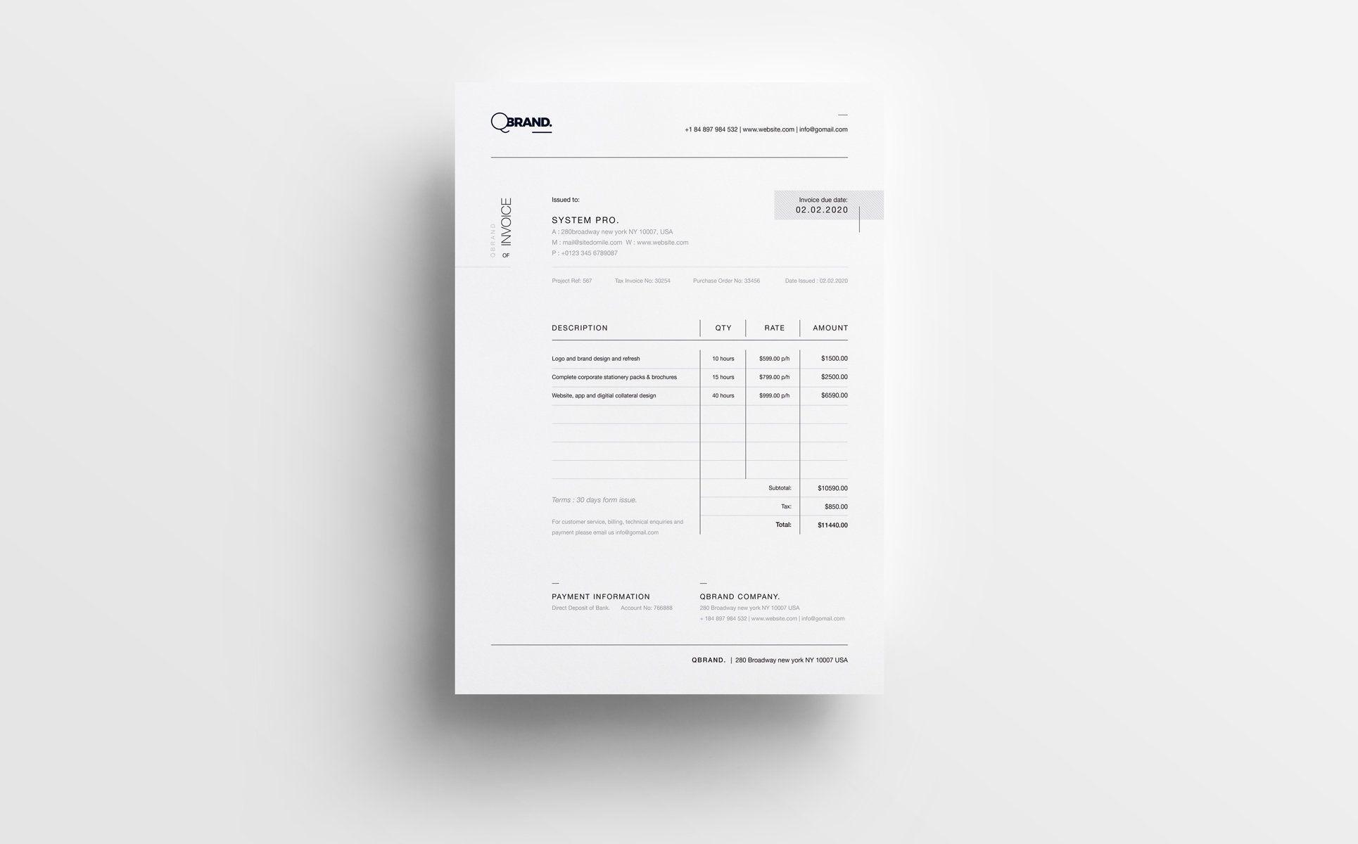 clean simple minimal invoice template pinterest print templates