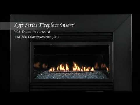 Loft Series Vent Free Fireplace Insert With Surround And Blue
