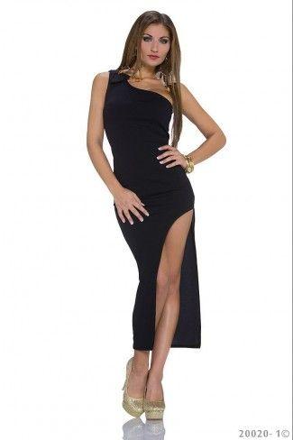 Μάξι φόρεμα με έναν ώμο - Μαύρο