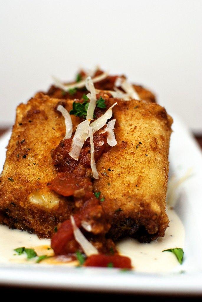 Deep fried lasagna fritters with parmesan and marinara - Olive garden marinara sauce recipe ...
