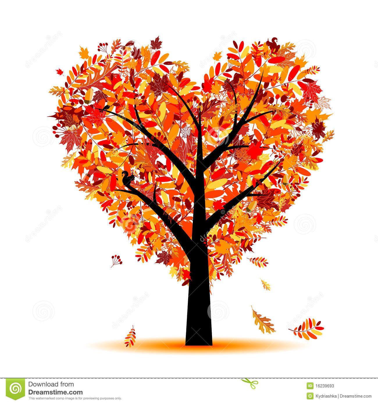 Gentil Beautiful Autumn Tree Heart Shape For Your Design   Download From Over 53  Million High Quality