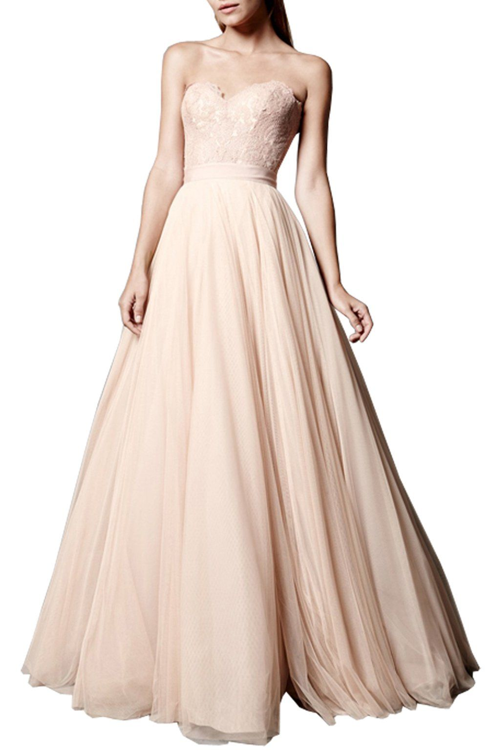 Ethel womenus sweetheart lace top backless formal party long prom