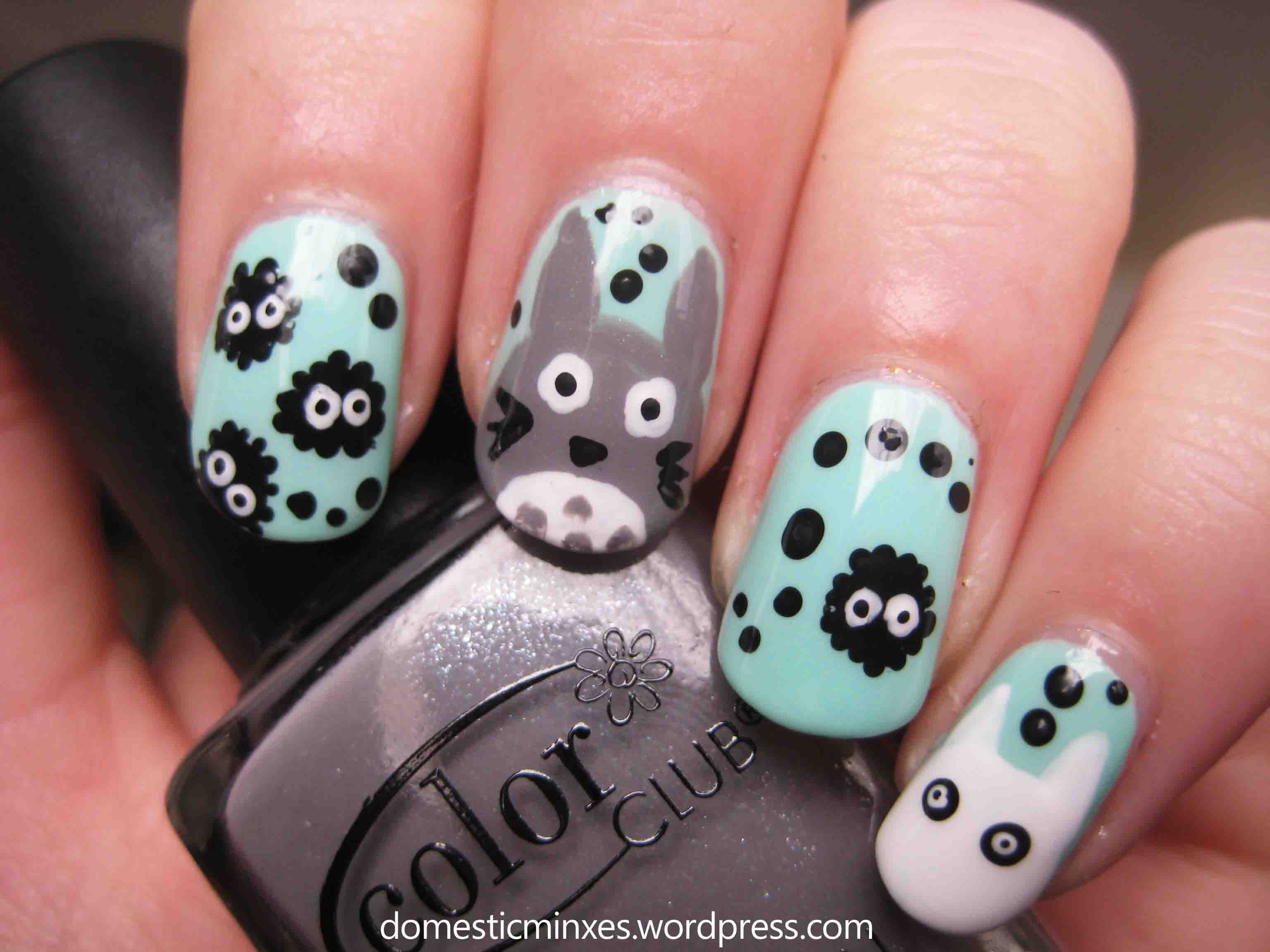 31 day nail challenge day 23 totoro art nails and wide nails 31 day nail challenge day 23 prinsesfo Choice Image