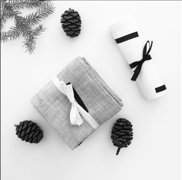 Pure Linen hand-crafted napkins #minimal # napkins #blackandwhite #graphic #linen