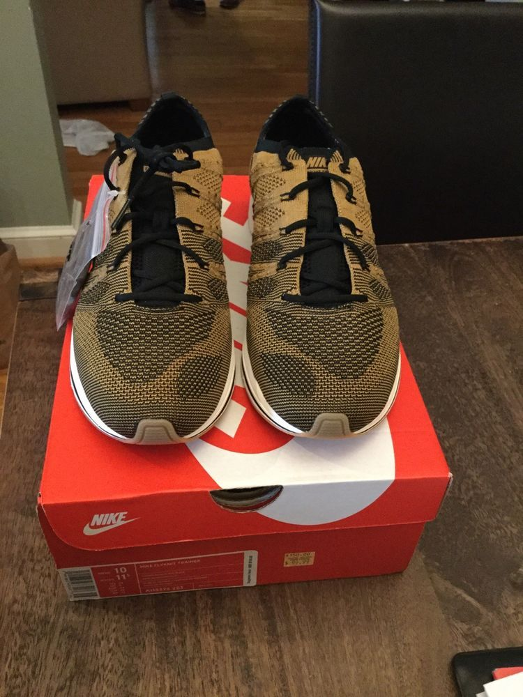 1e9b6ccb464cc Nike Flyknit Trainer 2018 Golden Beige Black Men Size 10 ah8396 203 racer  zoom  fashion  clothing  shoes  accessories  mensshoes  athleticshoes (ebay  link)