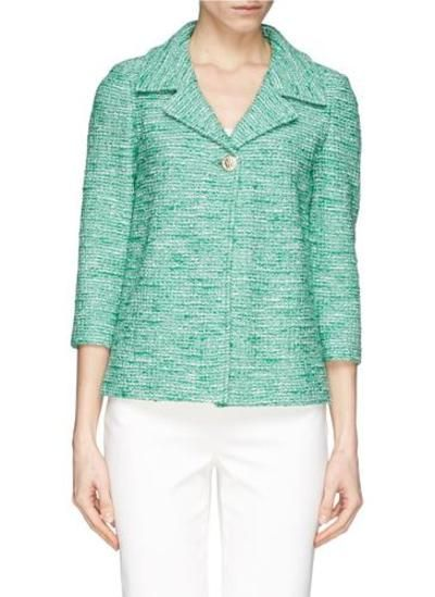 Cropped sleeve Shantung tweed jacket #croppedjacket #covetme #st.john