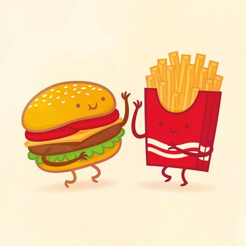 Burger And Fries By Philip Tseng With Images Food Cartoon