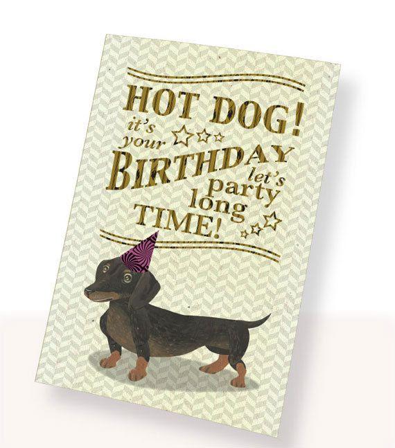Printable Pdf Cute Dachshund Dog Birthday Card Brown White Party